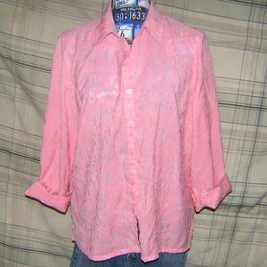 Ladies Sheer Pink 3/4 Length Sleeve Shirt